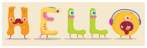 Hello - letras dibujadas