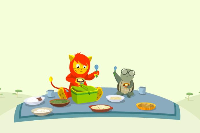 Nene León y Tugo a la hora de comer